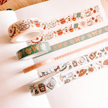 Load image into Gallery viewer, Cottagecore Washi Tape - Rose Gold Foil - Set of Four - Original Design