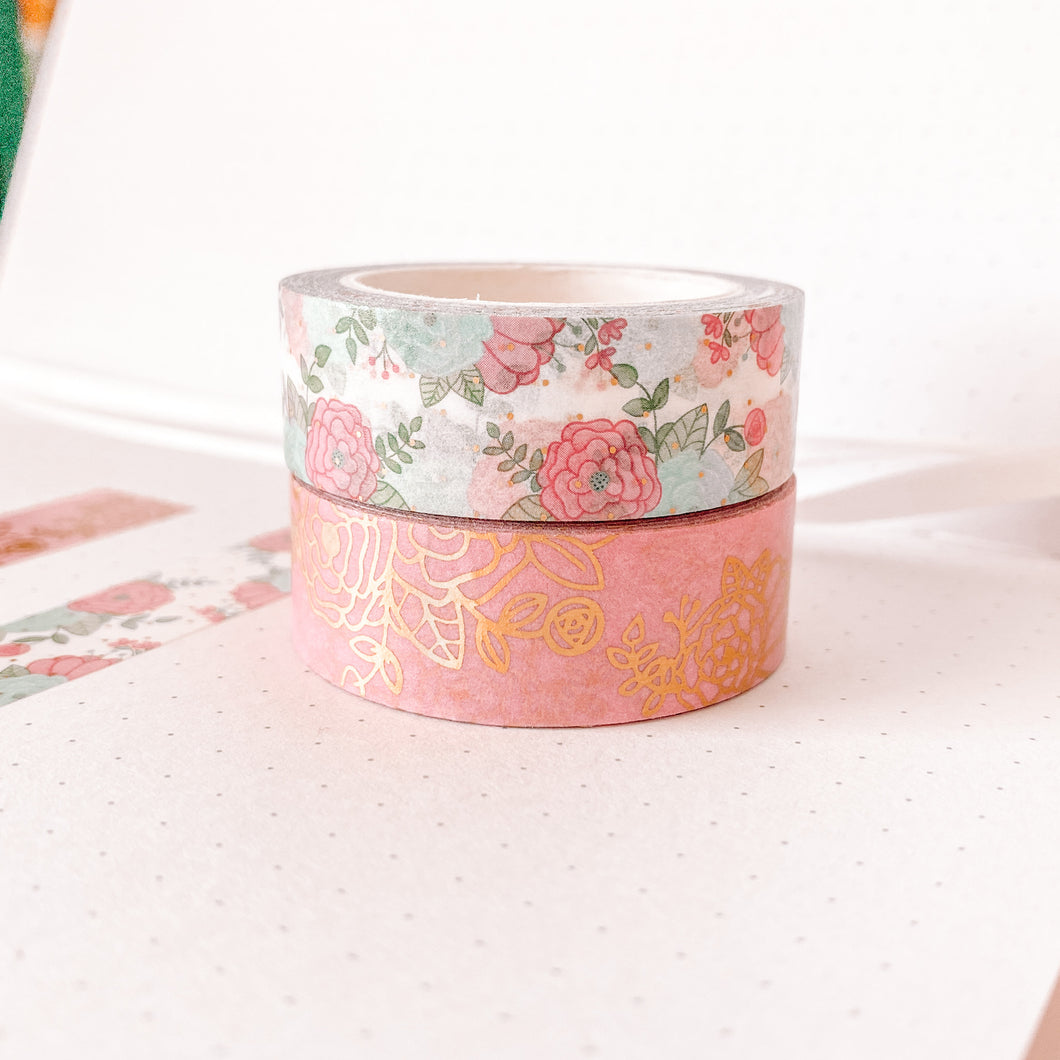 Pink Carousel Washi Tape - Gold Foil - Set of Two - Patron Extras - Original Design