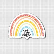 "Load image into Gallery viewer, ""You are magic"" Pastel Rainbow Vinyl Sticker Decal - Illustrated Collection"