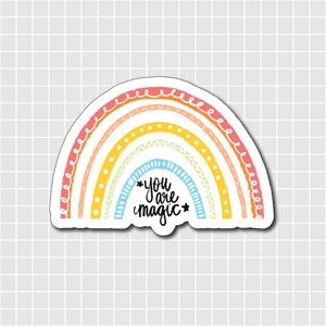 """You are magic"" Pastel Rainbow Vinyl Sticker Decal - Illustrated Collection"