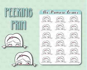 Peeking Prim - Top Sticker - Primrose Illustration