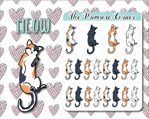 Meow - Cat Stickers - Hand Drawn Sticker Sheet