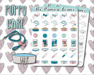 Puppy Care - Hand Drawn Sticker Sheet