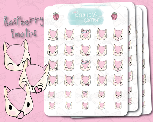 Raspberry Emoti Sticker Sheets - Raspberry Collection