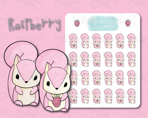 Raspberry the Squirrel Sticker Sheet - Raspberry Collection