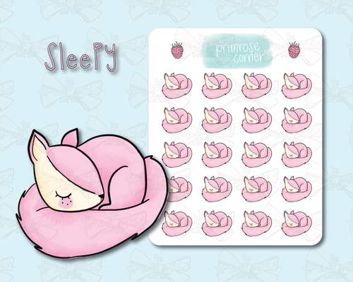 Sleepy Sticker Sheet - Raspberry Collection