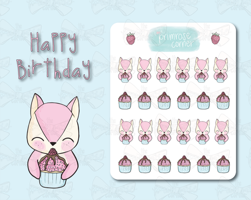 Happy Birthday Sticker Sheet - Raspberry Collection