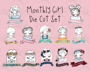 Full Set of Monthly Girl Die Cuts 2019 Edition - 12 Sticker Die Cuts - Primrose Collection