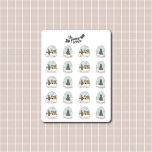 Cozy Snow Globes Sticker Sheet