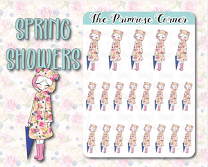 Spring Showers - Hand Drawn Sticker Sheet