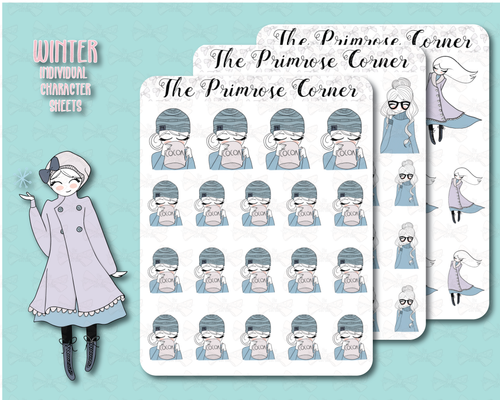 Winter Primrose Illustrations Sticker Sheets