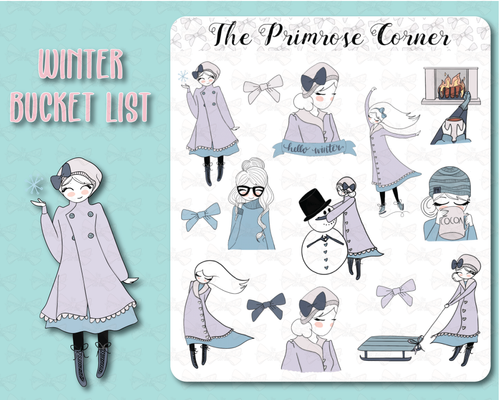 Winter Primrose Illustrations Sticker Sheet