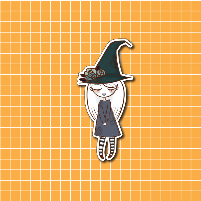 Halloween Witch One Vinyl Sticker Decal - Halloween Collection - Primrose Collection