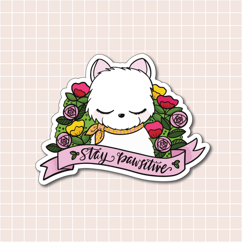 Stay Pawsitive Vinyl Sticker Decal - Illustrated Collection
