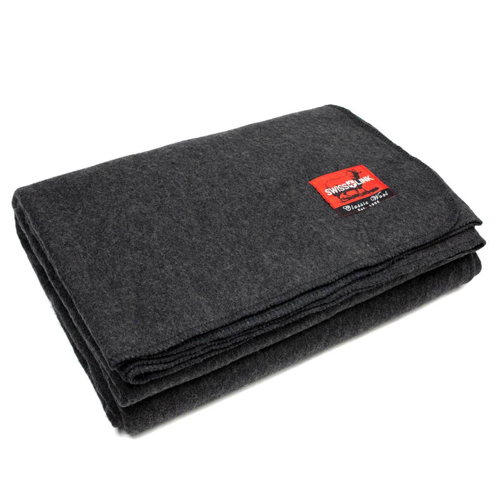 Charcoal Grey Classic Wool Blanket Swiss Link