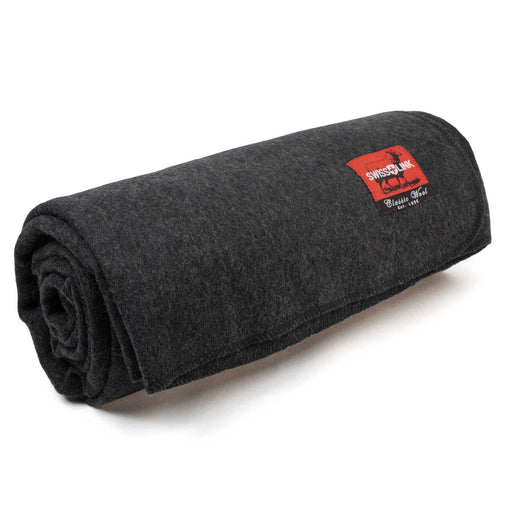 Charcoal Grey Classic Wool Blanket, Swiss Link
