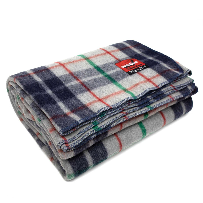 New Plaid Wool Blanket (Grey/Blue)