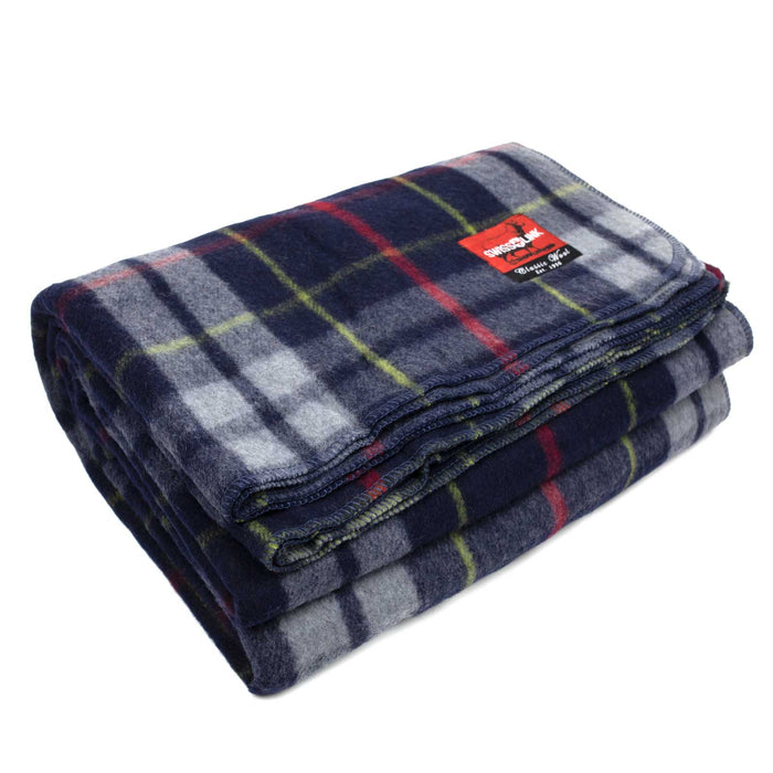 New Plaid Wool Blanket (Blue/Grey)