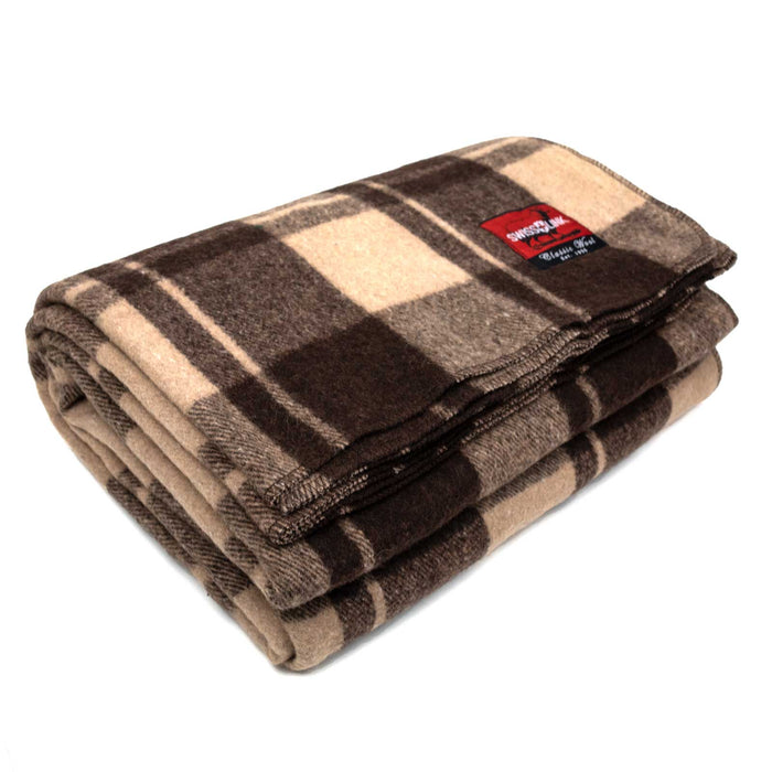 New Plaid Wool Blanket (Brown)