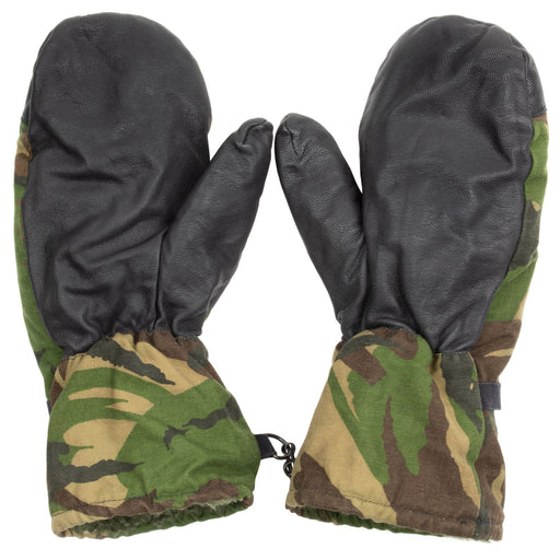 Dutch Military Woodland Mittens | Leather Palms
