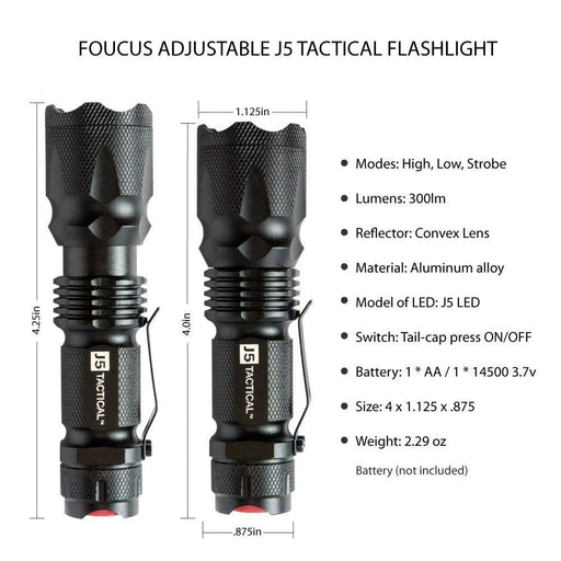 300 Lumen V1 PRO Flashlight | J5 Tactical