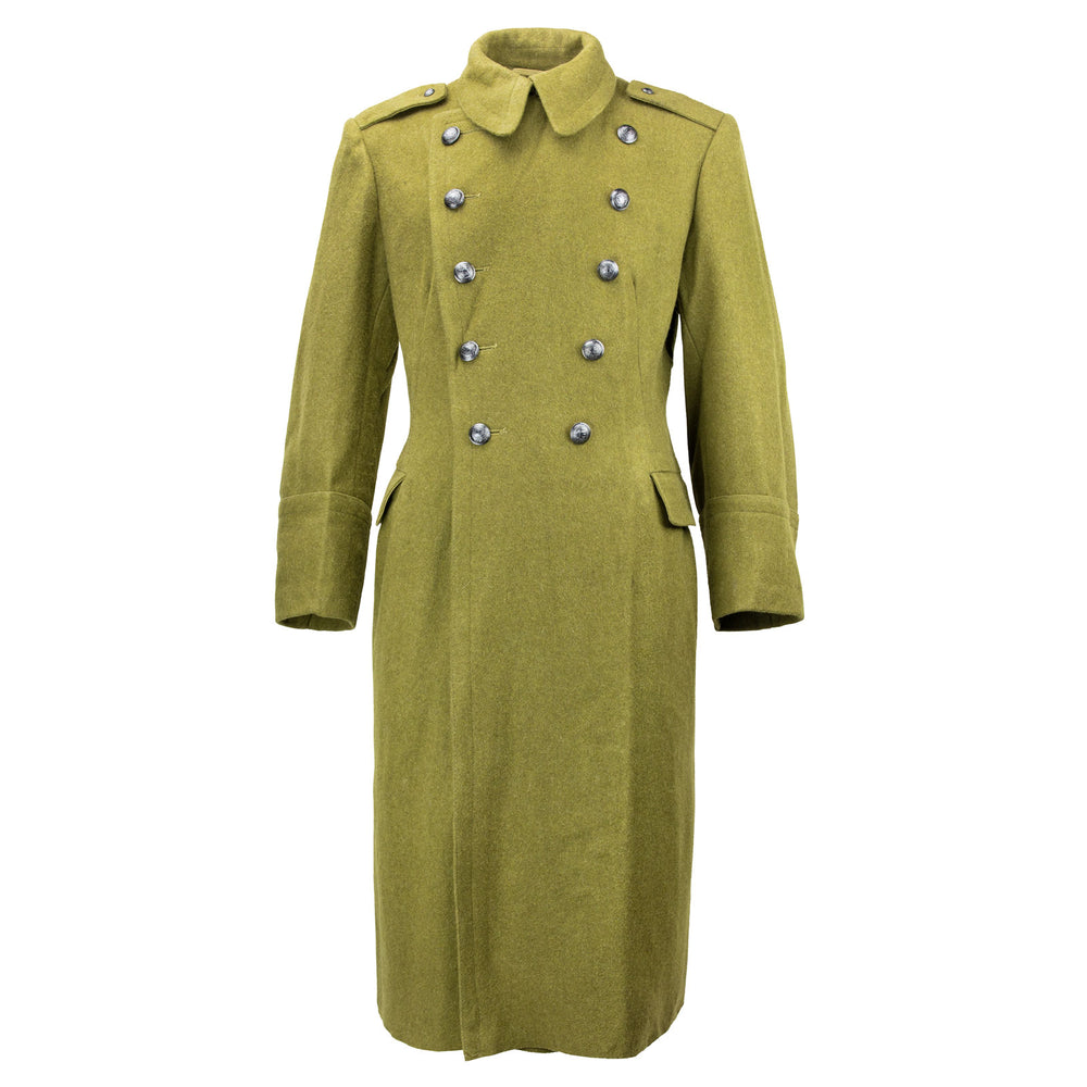 Romanian Long Wool Coat Green Olive Drab