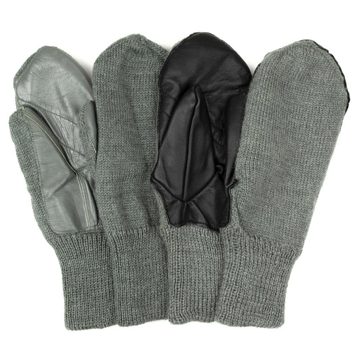 Swiss Military Wool Mittens With Leather Palm