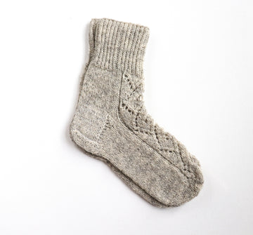 Hand Knitted Wool Socks - Grey