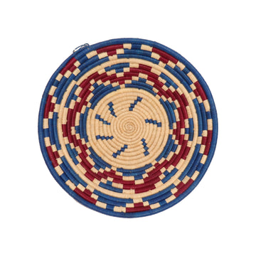 Uganda Red-Blue-White Bukedo & Raffia Bowl