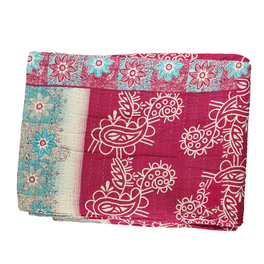 Double Vintage Kantha Throw H3