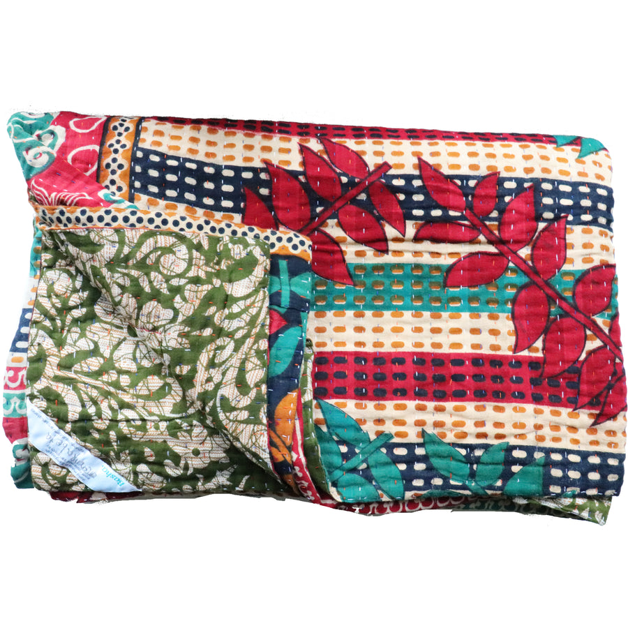 Double Vintage Kantha Throw H6
