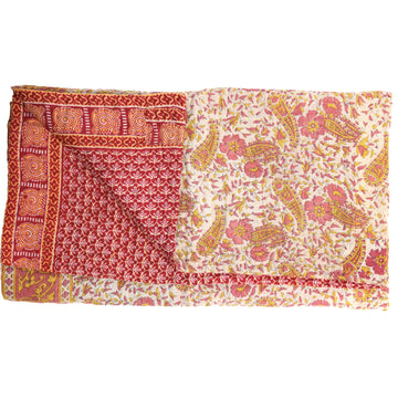 Mini Vintage Kantha Throw: Thamina's Pink Dream