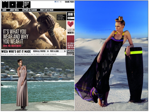 Clockwise from Top Left: WOZA Website, Lalesso SS12, Cape Town Fashion Week 2011 Campaign