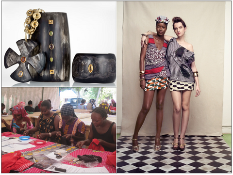 Clockwise from Top Left: Ashley Pittman, Suno's Premiere Collection w/ Vintage Kangas, Soko Kenya