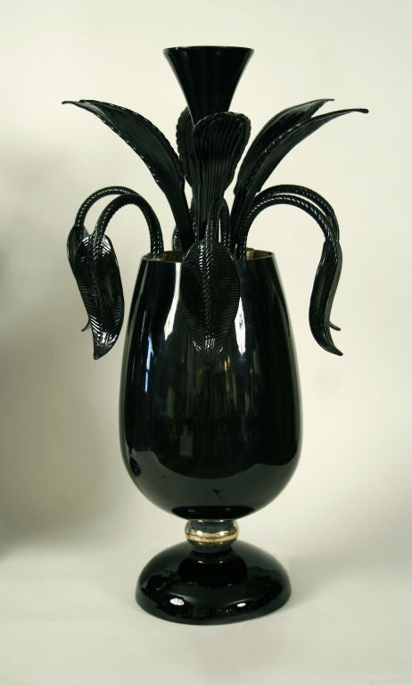 <b>PAIR OF ITALIAN BLACK GLASS LAMPS</b><br>CIRCA 1960</br>