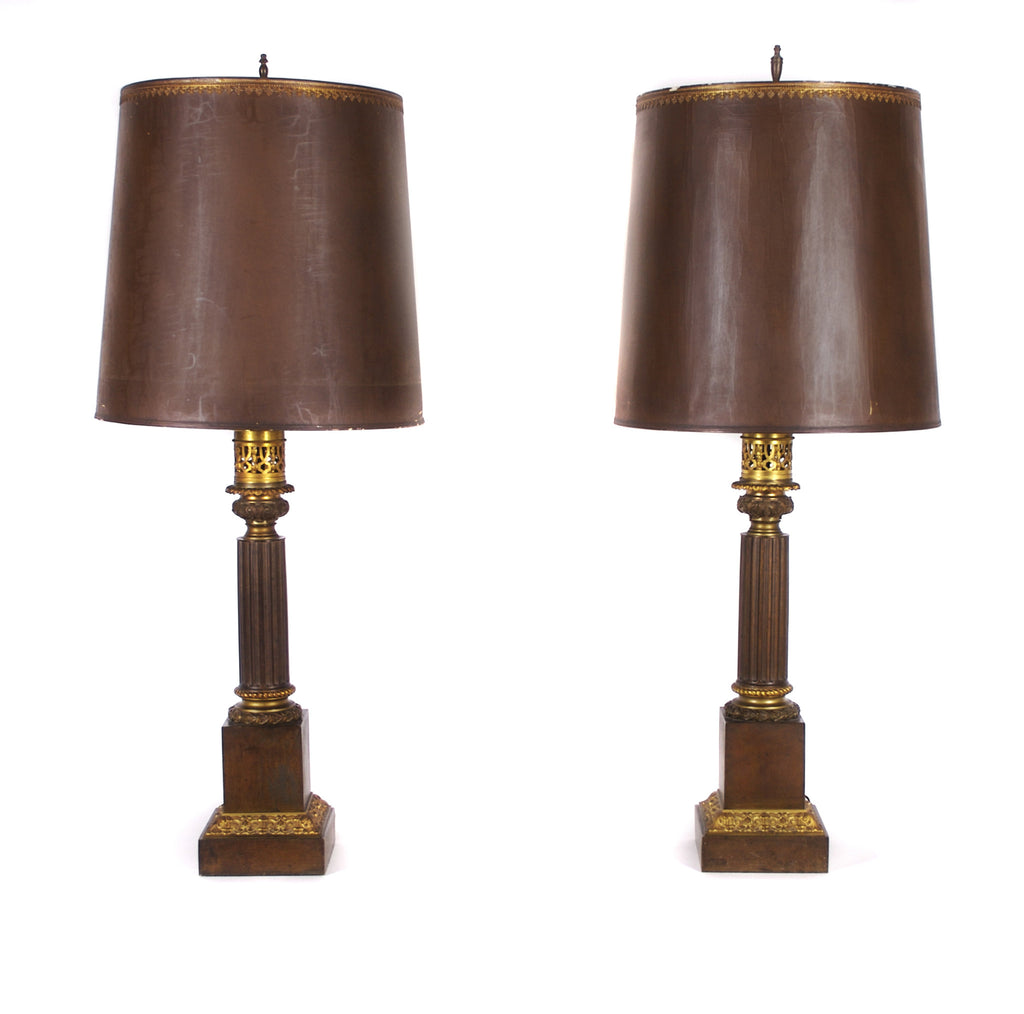 <b>PAIR OF FRENCH CONVERTED OIL LAMPS</b><br>CIRCA  1830'S</br>
