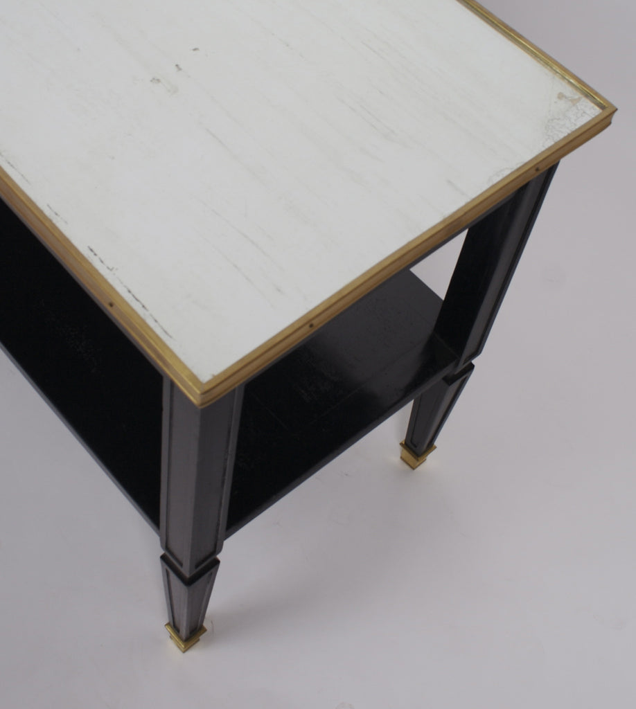 <b>MAISON JANSEN STYLE TABLE WITH MIRRORED TOP AND BRASS ORNAMENTATION</b><br>CIRCA 1940</br>