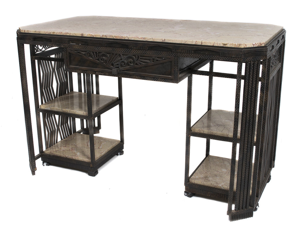 <b> PAUL KISS WROUGHT IRON AND MARBLE PARTNER'S DESK </b><br> CIRCA 1930</br>