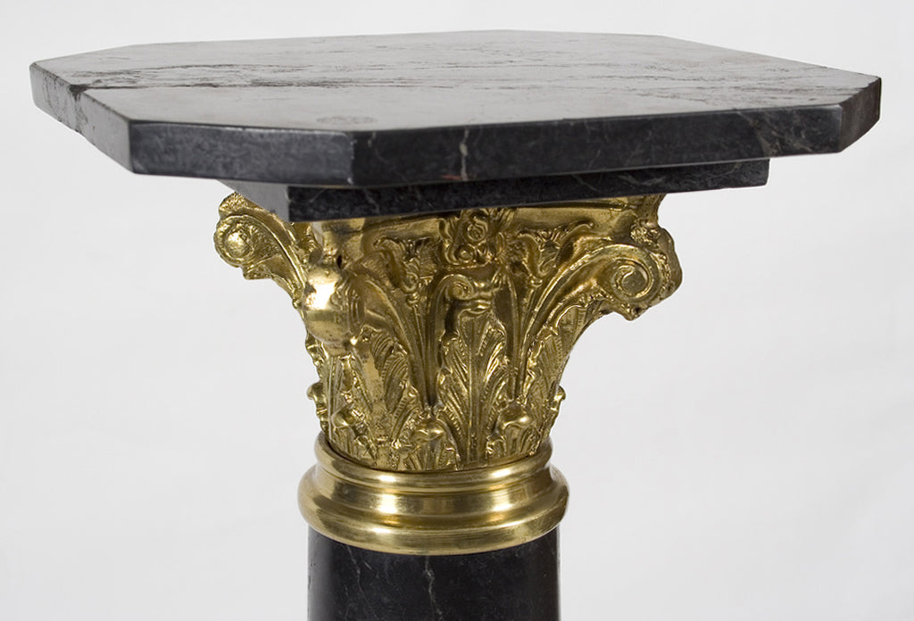 <b>FRENCH TWISTING MARBLE COLUMN WITH GILT BRONZE CAP</b><br> 20TH CENTURY</br>