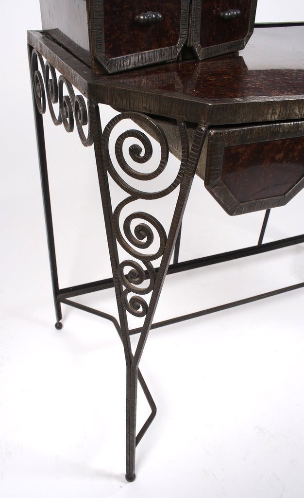 <b> WROUGHT IRON VANITY WITH PAIR OF MIRRORS IN THE STYLE OF LOUIS KATONA</b><br> CIRCA 1920'S</br>