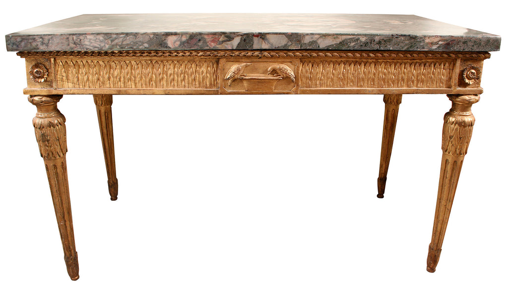 <b>NEOCLASSICAL TABLE WITH HAND CARVED LEGS AND MARBLE TOP</b><br>CIRCA 1800</br>