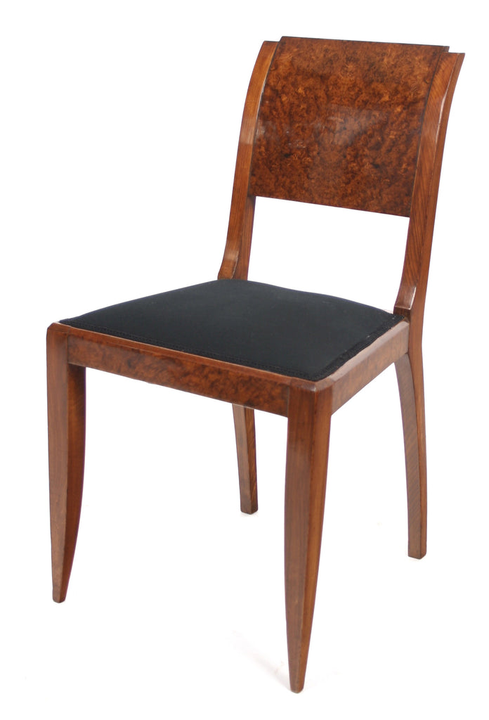 <b>SET OF 6 FRENCH ART DECO CHAIRS WITH BURLED VENEER</b><br>CIRCA 1930s</br>