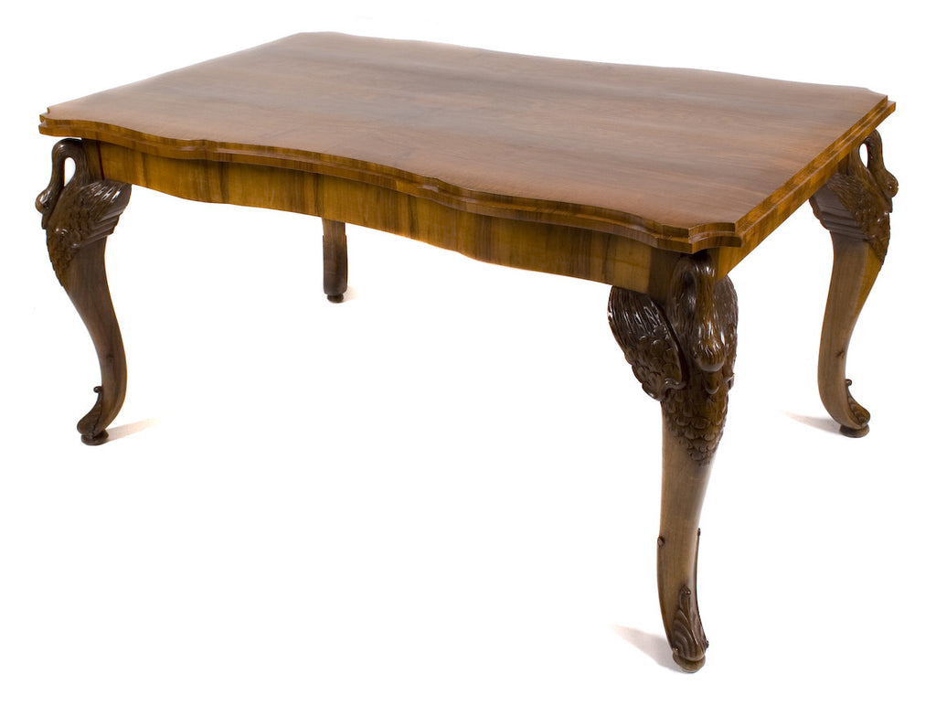 <B>FRENCH CARVED SWAN LEG TABLE</B><BR>CIRCA 1920s</BR>
