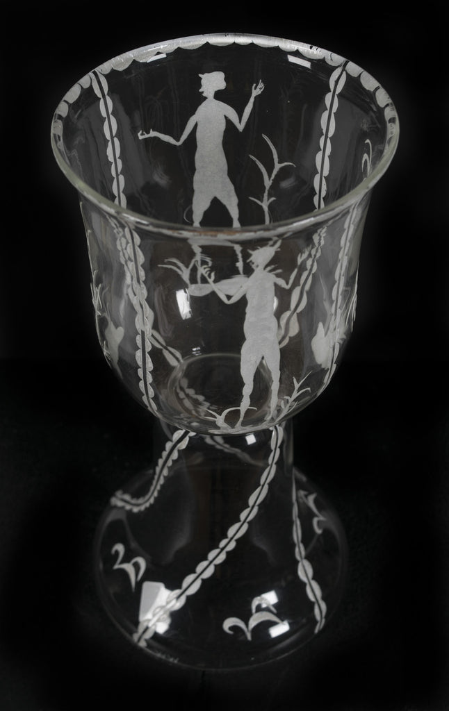 <B>DAGOBERT PECHE AND MATHILDE FLOGL</B><BR> ETCHED GLASS CUP, CIRCA 1920s</BR>