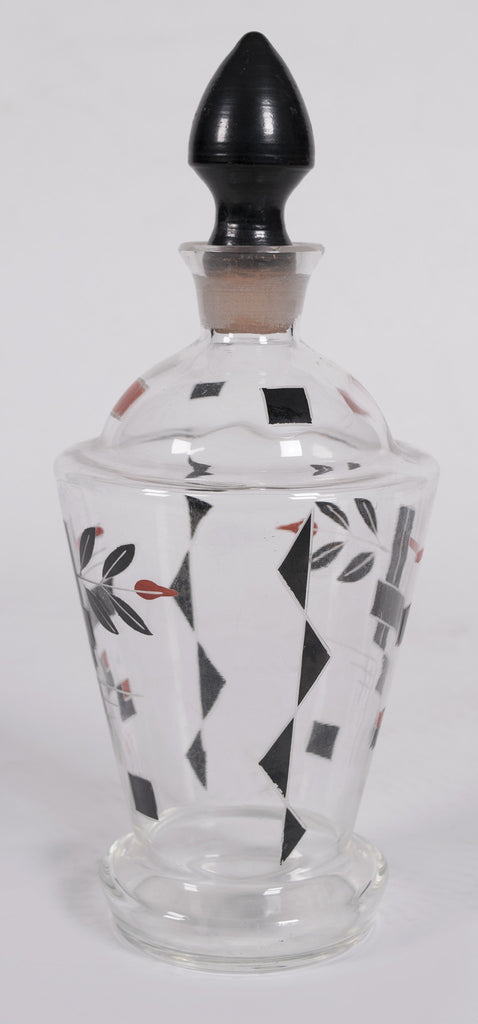 <B>CZECHOSLOVAKIAN GLASS VASE</b><br> PAINTED GLASS DECANTER, EARLY 20TH CENTURY</br>