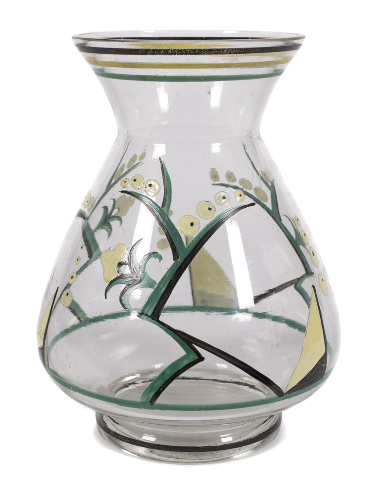 <b>CZECHOSLOVAKIAN GLASS VASE</b><br>LILY OF THE VALLEY PAINTED GLASS VASE, CIRCA 1920s</br>