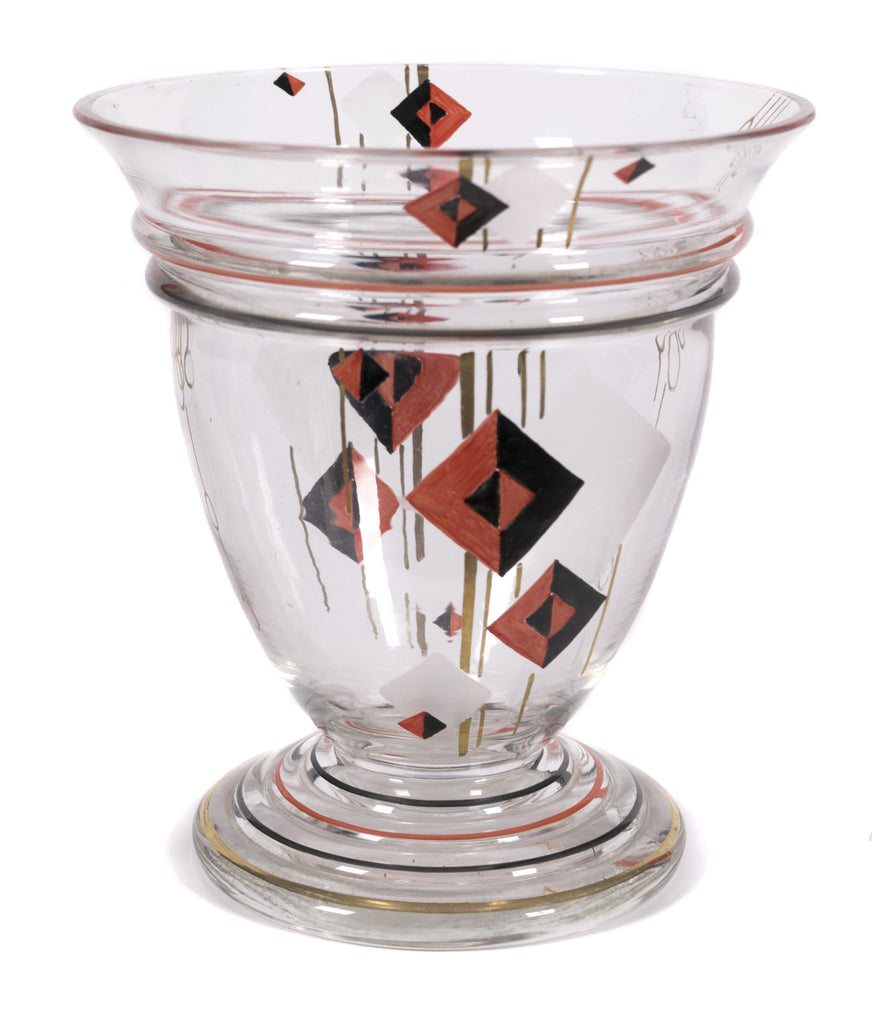 <b>CZECHOSLOVAKIAN GLASS VASE</b><br>PAINTED GLASS VASE, EARLY 20TH CENTURY</br>