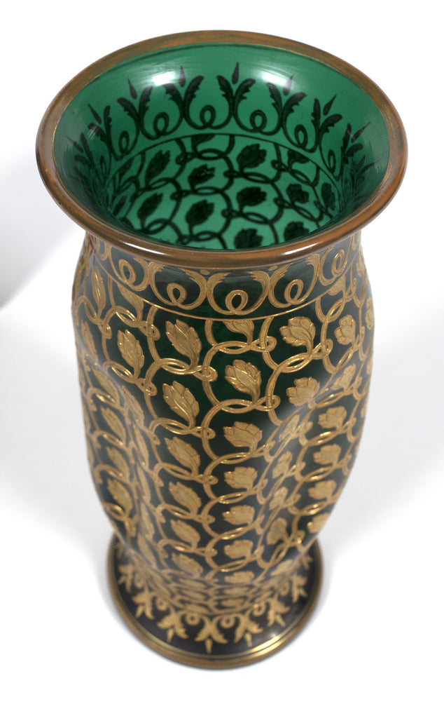 <b>GLASS VASE</b><br>VASE WITH APPLIED GILT DECORATION, EARLY 20TH CENTURY</br>