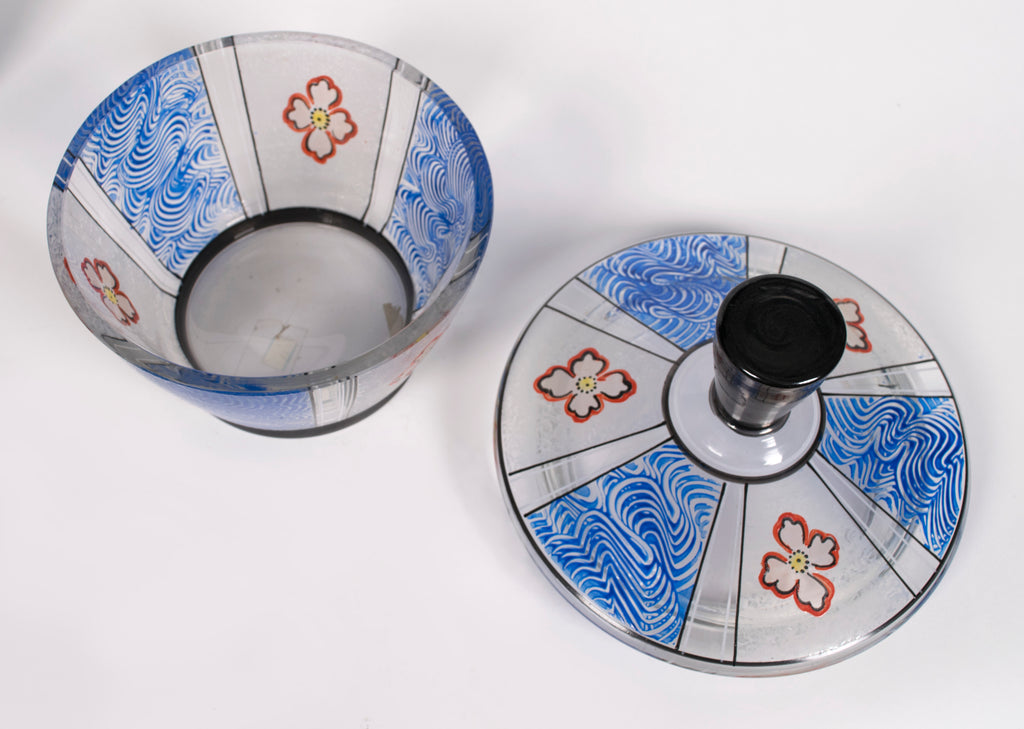 <b>LIDDED PAINTED GLASS BOWL</b><br>CIRCA 1918-1938</br>