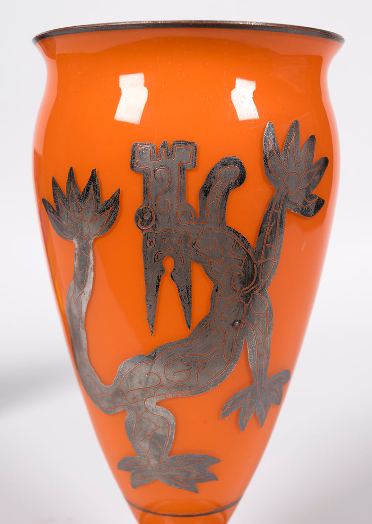<b>VASE WITH SILVER DRAGON MOTIF</b><br> CIRCA 1920-30</br>